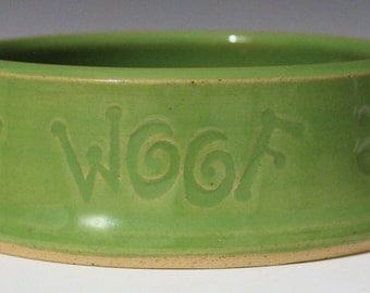 Green Woof Dog Bowl