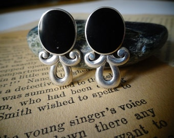Black onyx and sterling silver detail post earrings