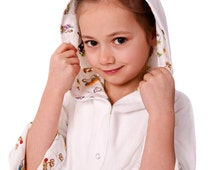 Organic cotton Toddler Robe for Girl or Boy, Organic cotton terry and prints
