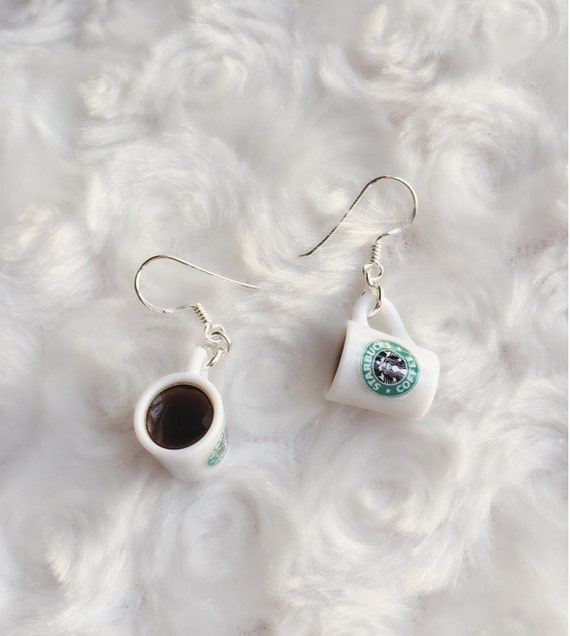 Starbuck Coffee Mug Earring, coffee cup Miniature Jewelry,Sterling Sliver 925 Jewelry Miniature, Miniature Starbuck Earring,Starbuck