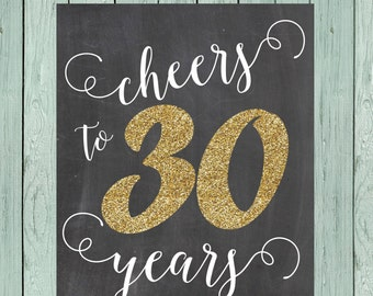 Cheers to 30 Years- Chalkboard Sign ** DIY Printing - Digital File *****INSTANT DOWNLOAD****