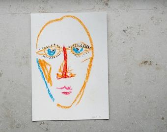 original painting, original, pastel chalk, face, portrait, face, pastels, chalk pastel, drawing, illustration.