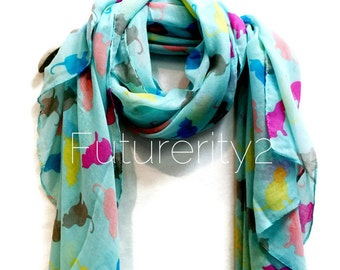 Multicolour Cats Light Blue Scarf / Spring Summer Scarf / Autumn Scarf / Women Scarves / Gifts For Her / Accessories