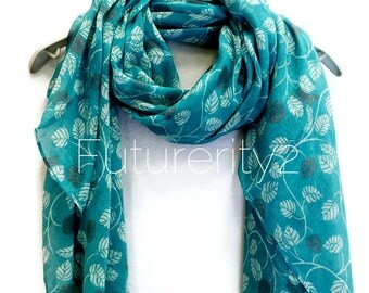 Small Leaves Light Blue Scarf / Spring Summer Scarf / Autumn Scarf / Women Scarves / Gifts For Her / Accessories / Handmade