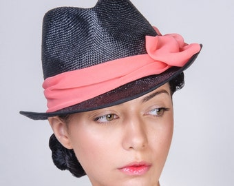 Straw Trilby Summer Hat, Woman Fedora style Hat, Pink Chiffon Decor Bow, Handmade Hat, Black or Navy visca straw colours