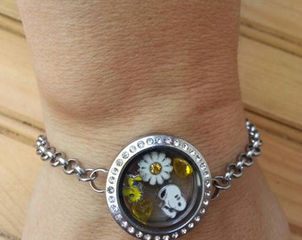 Snoopy and wood stock daisy flower charm bracelet
