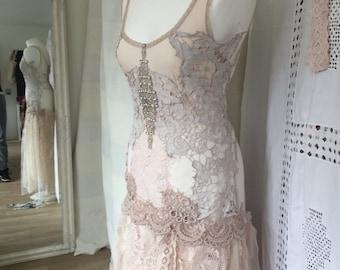 Alternative wedding dress made in Denmark, boho wedding dress ,unique wedding dress,repurposed antique lace,rawrags wedding , statement