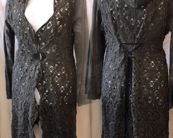 Elven tattered jacket, boho trashy jacket,vintage inspired,jacket, steampunk , pixie, elven, nature , antique crochet and laces