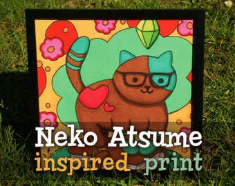 Neko Atsume inspired - cute cat kitty kawaii plumbob sims hippie flowers planner - Copic illustration print (frame not included)