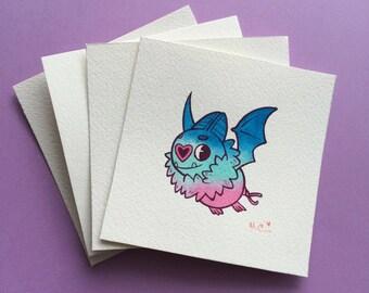 Mini PRINT Swoobat Pokemon by Michelle Coffee