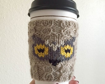 Knitted Owl Coffee Cozy