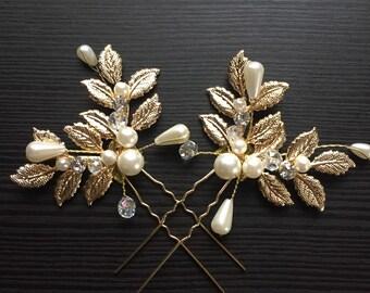 Gold crystal and pearl hair pins gold wedding hair pins boho bridal hair pins bobbies pin set of 2 wedding hair pins