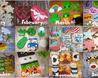 Cookie of the Month club Decorated homemade sugar cookies. 3, 6 or 12 month subscriptions.  Dozen or Half Dozen options.