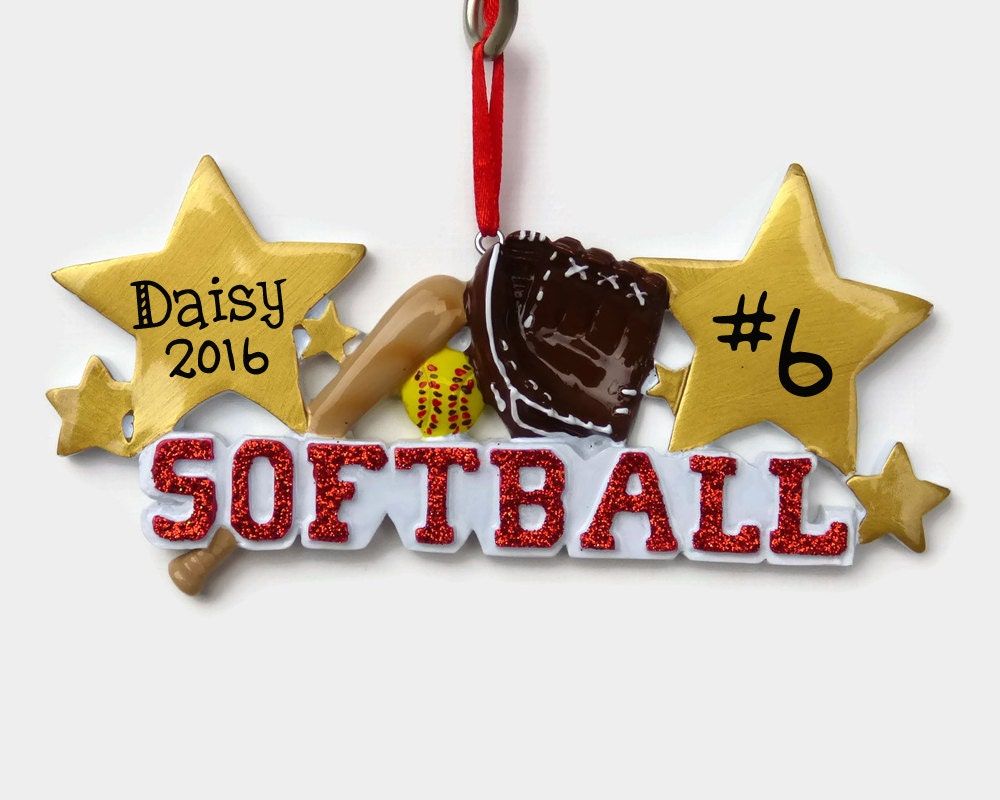 Softball Personalized Ornament Hand Personalized Christmas