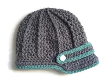 Baby Newsboy Cap. Kids Newsboy Hat. Newborn Brimmed Beanie. Newborn Photo Props. Infant Winter Hat.