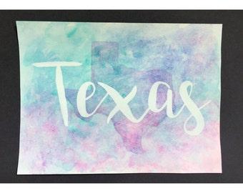 Texas watercolor - cool tones