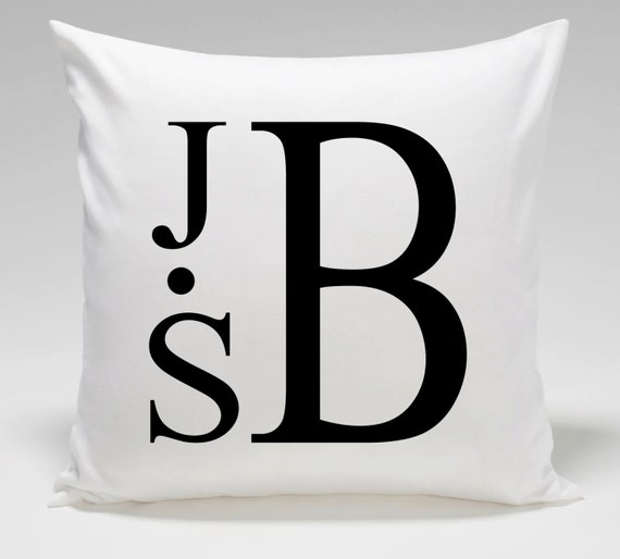 Monogram Throw Pillow Cover 18 x 18 Cotton Twill with Zipper