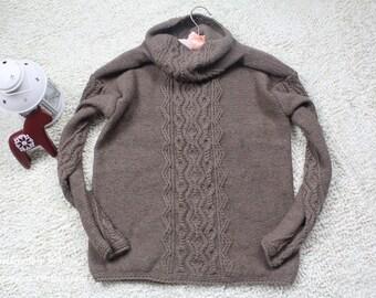 Jane's Handmade~women's sweater~cable/braid jumper/pullover~raglan sleeve/heap turtleneck~cashmere~purple/taupe