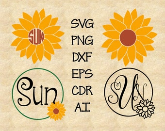 SVG Sunflower Monogram Frame Cutting File DXF, AI Commercial Personal Use