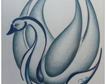 """Postcard with Blue Swan- """"Lady Eleganze"""" from the serie;Ugly Ducklings/ Blue Swans"""