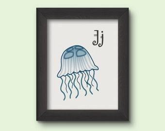 Alphabet Art Print - J for Jellyfish - INSTANT DOWNLOAD