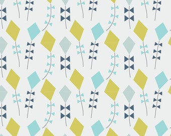 Little Kites in Citron, Spring Walk Collection by Little Cube for Cloud 9 Organic Fabrics