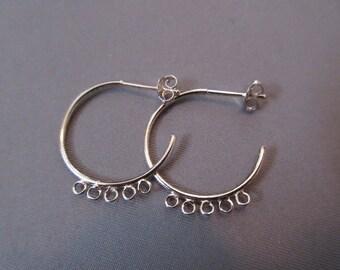 Sterling Silver Round 5-Loop Earrings (1-Pair)