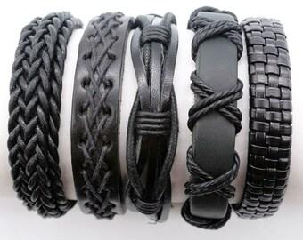 Gift For Women, Men, Boyfriend, Girlfriend, 5 Individual Black Leather Bracelet Set, Leather Braclet Anniversary Present 5P-121