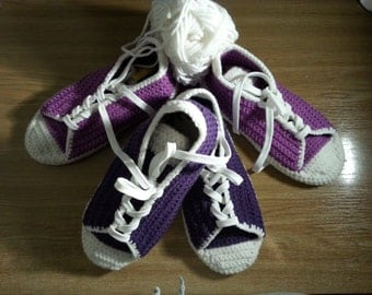 Womens Adults Slippers Crochet, Converse Wool Slippers, House Knits Shoes - 10 colours to choose from - Made to Order