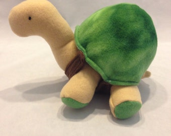 Plush stuffed turtle, green and tan turtle,turtle toy
