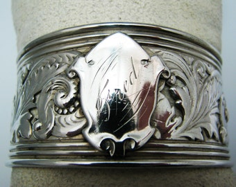 Lovely Vintage Sterling Silver Filigree Cuff Bracelet