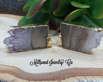Amethyst Slice, Amethyst Connector, Amethyst Slice Pendant, Amethyst Druzy Pendant, Drusy Pendant, 24 Karat Gold, PG0409A