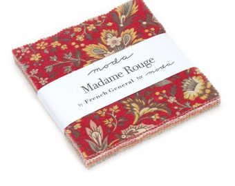 """Madame Rouge Charm Pack, French General Fabric, French General Charm Pack, Moda Fabric, (42) 5""""x5"""" Fabric Squares, 13770PP"""