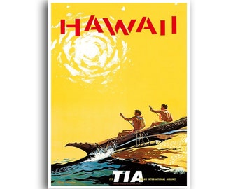 Hawaii Art Vintage Travel Poster Print Home Wall Decor (XR967)