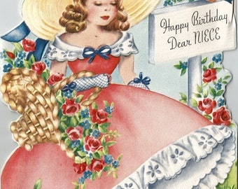 Vintage niece birthday card flowers floral girl in gown bonnet digital download printable instant image