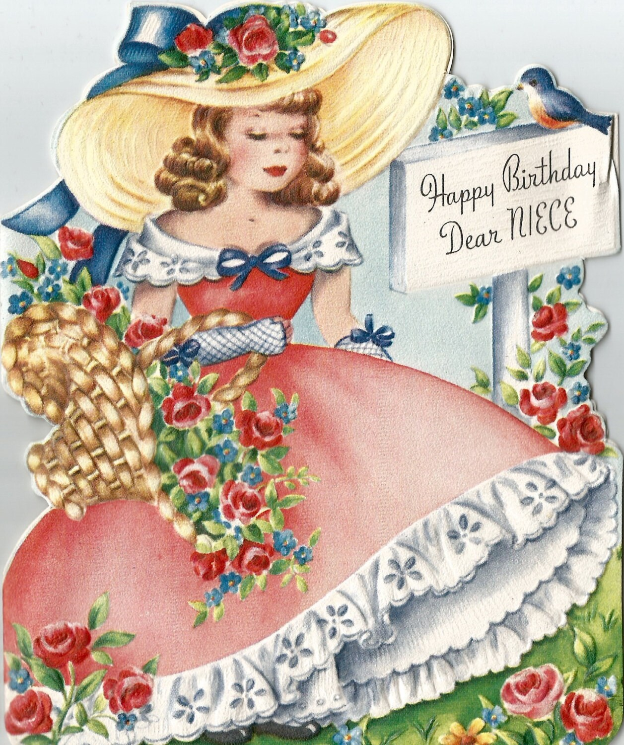 Birthday Flowers For Niece: Vintage Niece Birthday Card Flowers Floral Girl In Gown Bonnet