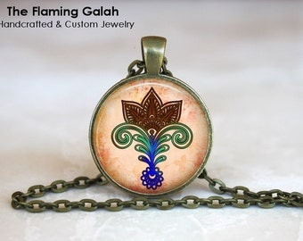 LOTUS FLOWER Pendant • Spiritual Flower • Indian Flower Art • Mandala Flower • Hindu Flower • Gift Under 20 • Made in Australia (P0344)