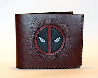 Deadpool! Leather wallet with Deadpool logo, brown wallet, great leather item, brown men's wallet, credit card wallet, gift for men.