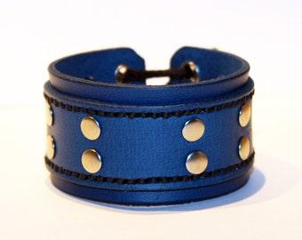 Blue Leather Cuff Bracelet! Unique Leather Gift! Hight quality item! Blue Bracelet! Leather Accessories!