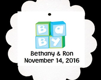 24 Personalized Baby Boy Baby Blocks Shower Scalloped Tags Party Favors