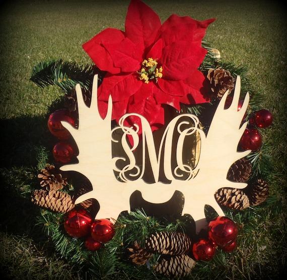 Christmas Cutout Decorations: Monogrammed Door Hanger Moose Antler Cutout Craft Christmas