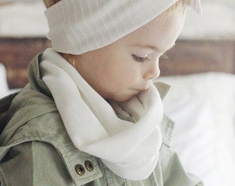 Winter White knit baby tube scarf