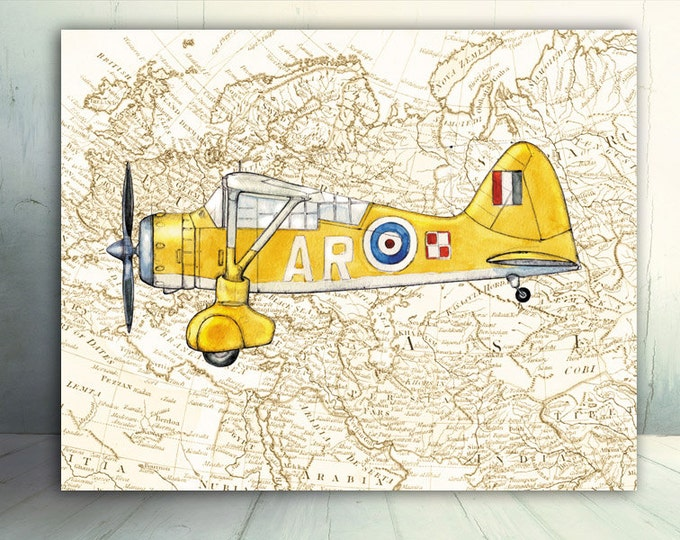 Airplane on vintage World's map Boys nursery decor Aviation Vintage prop driven aircraft Westland Lysander Boy nursery wall art