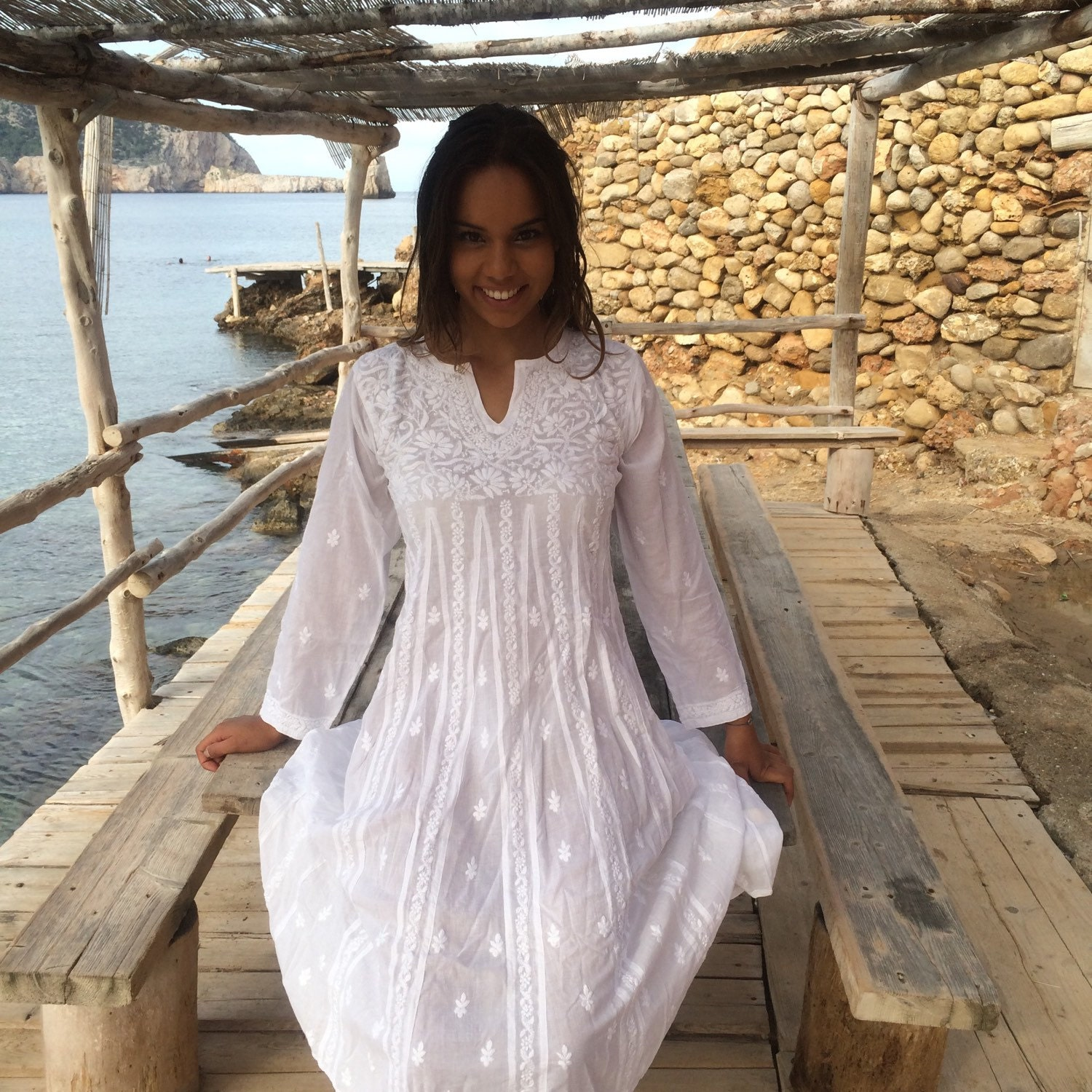 white ibiza tunic dress in muslin cotton with hand embroidery. Black Bedroom Furniture Sets. Home Design Ideas