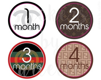 Month by Month Baby Stickers - Designer Logos