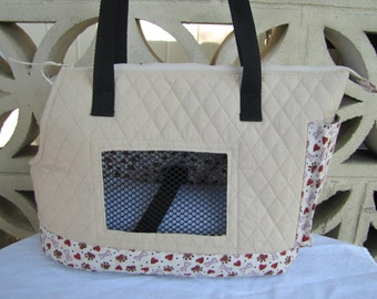Large cream dog carrier