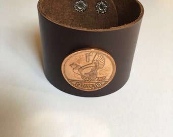 Ireland Large Penny Leather Cuff Coin Bracelet
