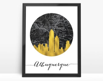 Albuquerque Skyline, Faux Gold Foil Art,Albuquerque Art,Black and White Map,Albuquerque map,Modern Home Decor,NO,803