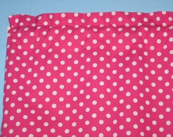 White Polka Dots on Hot pink Green Handmade 100% Cotton Window Curtain Valance