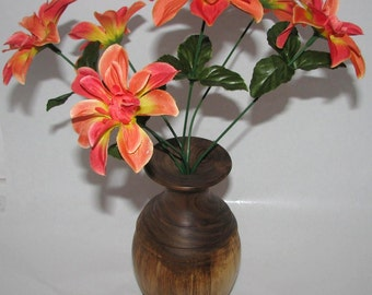 beautiful weed pot and flowers made from Kentucky  Black Walnut